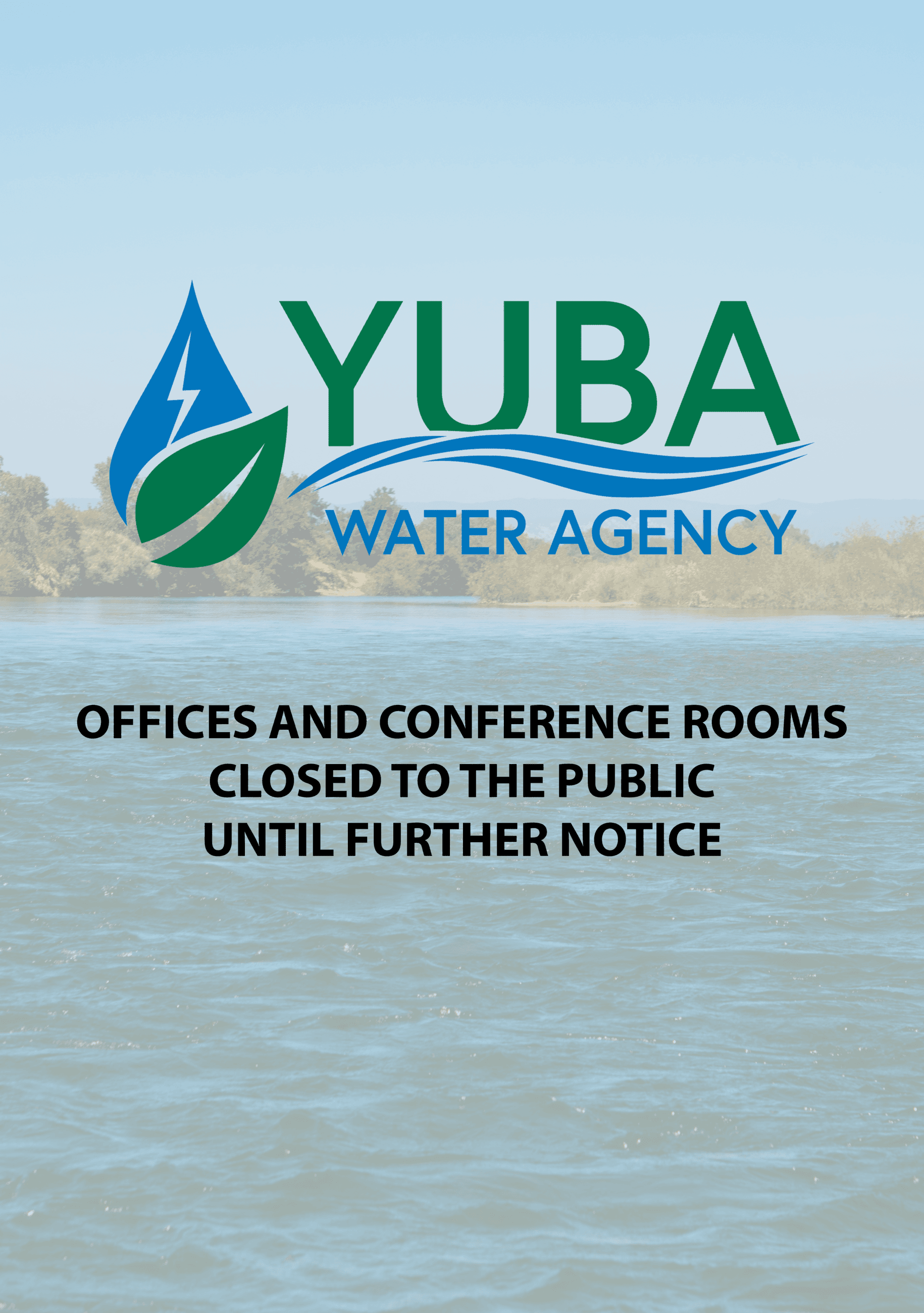 A low-opacity image of the Yuba River with the Yuba Water Agency logo and text over it that reads &#