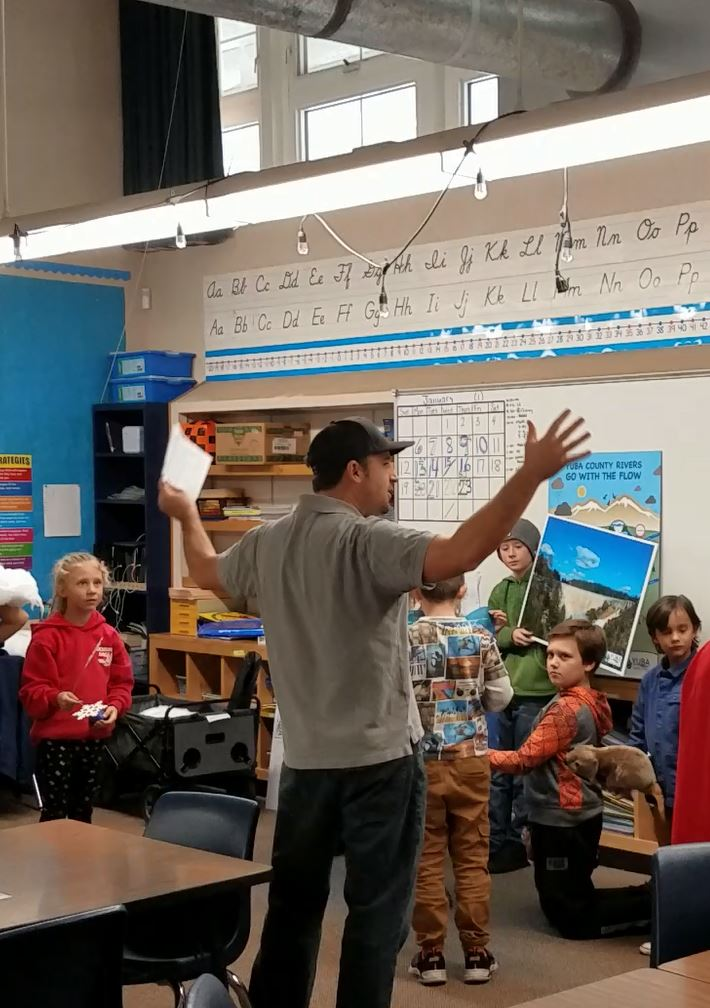 A Yuba Water Employee teaching young students about the watershed in a classroom