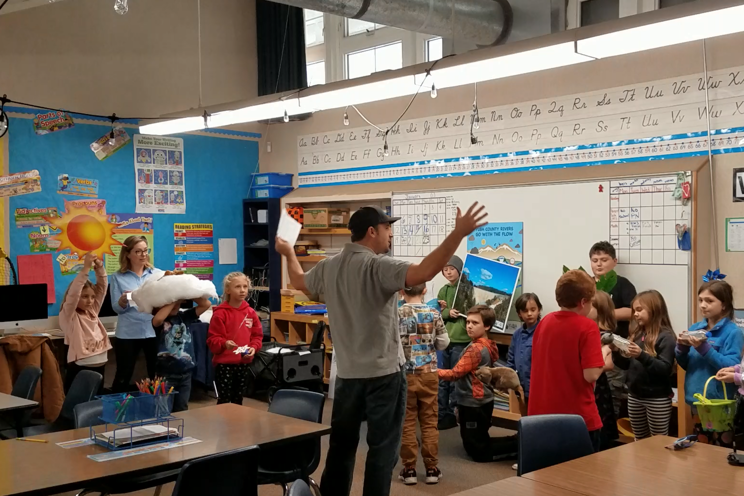 A Yuba Water employee teaches second graders about the Yuba River watershed.